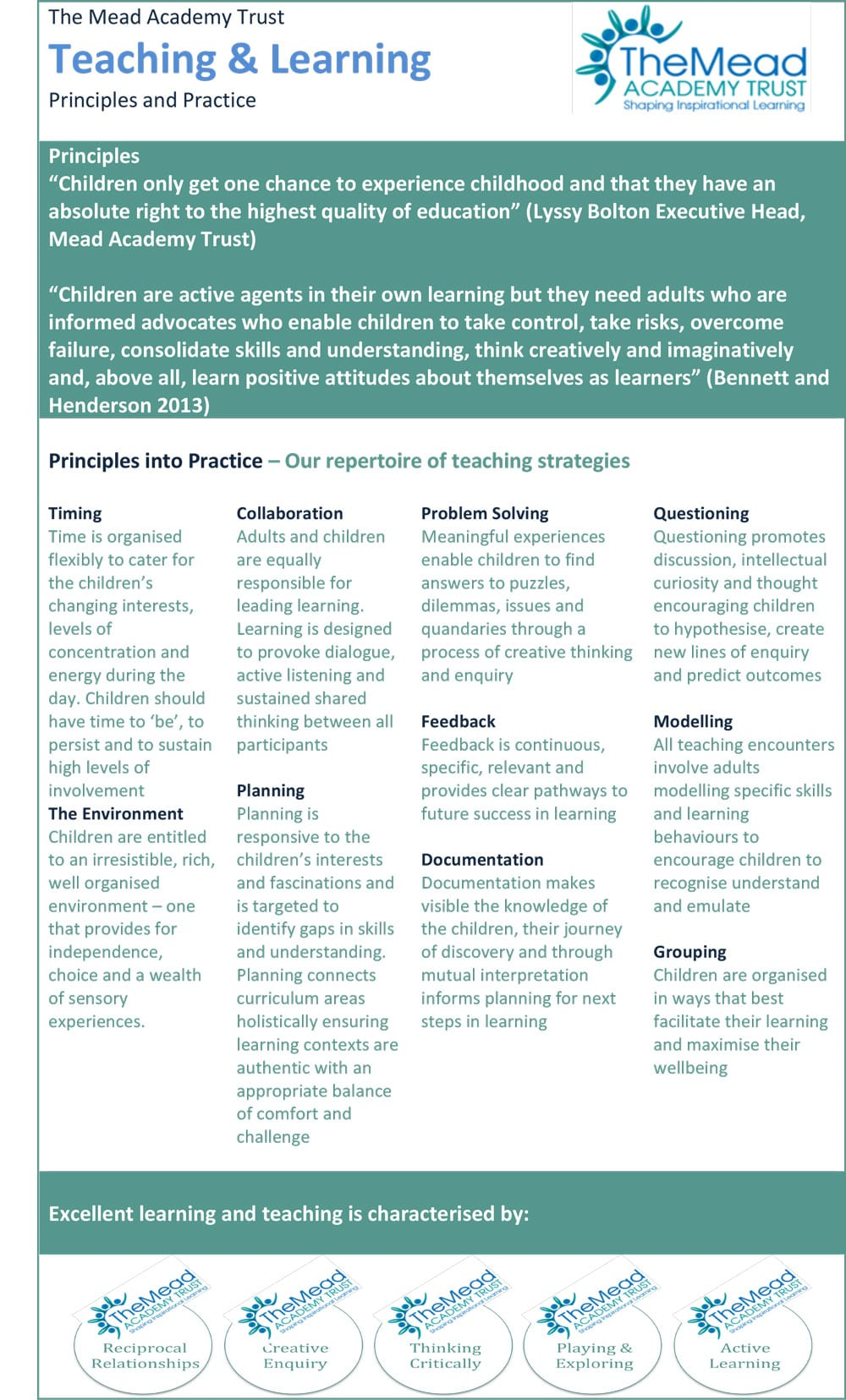 Teaching and Learning Statement The Mead Academy Trust